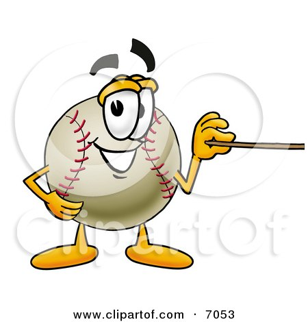 Clipart Picture Of A Baseball Mascot Cartoon Character Holding A Pointer Stick