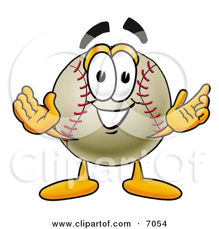Clipart Picture of a Baseball Mascot Cartoon Character With Welcoming Open Arms by Toons4Biz