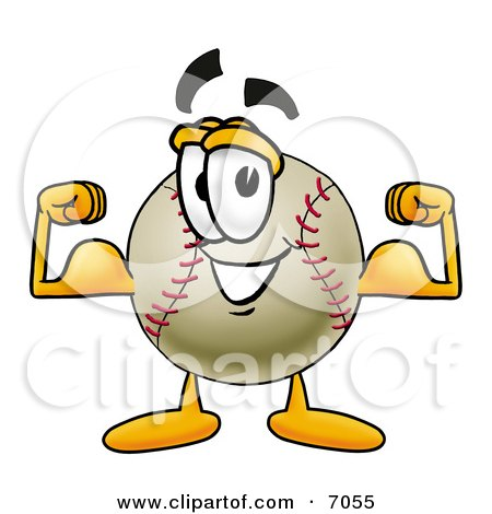 Clipart Picture of a Baseball Mascot Cartoon Character Flexing His Arm Muscles by Toons4Biz