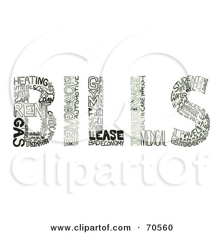 Royalty-Free (RF) Clipart Illustration of Expense Words Creating The Word BILLS by Arena Creative