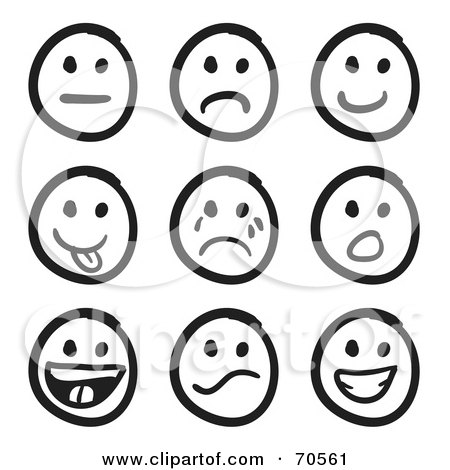 Royalty-Free (RF) Clipart Illustration of a Digital Collage Of Nine Black And White Faces by Arena Creative