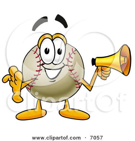 Clipart Picture of a Baseball Mascot Cartoon Character Holding a Megaphone by Toons4Biz
