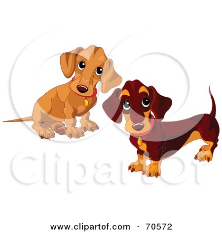 Royalty-Free (RF) Clipart Illustration of a Beige Wiener Dog Puppy