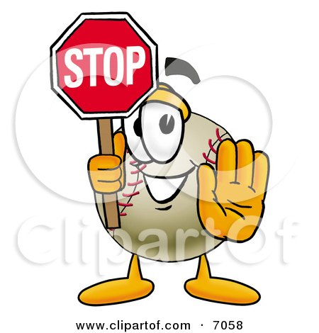 Clipart Picture Of A Baseball Mascot Cartoon Character Holding A Stop Sign