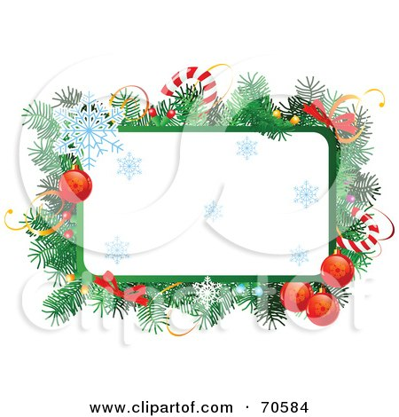Royalty-Free (RF) Clipart Illustration of a Christmas Text Box With Garland, Candy Canes, Baubles And Snowflakes by Pushkin