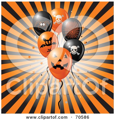 Royalty-Free (RF) Clipart Illustration of a Bursting Black And Orange Background With Halloween Party Balloons by Pushkin