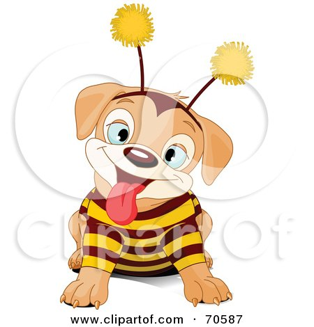Royalty-Free (RF) Clipart Illustration of a Cute Puppy Wearing A Bee Costume by Pushkin