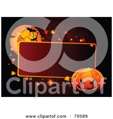 Royalty-Free (RF) Clipart Illustration of a Red Halloween Text Box With A Pumpkin, Leaves And Bats By A Full Moon by Pushkin