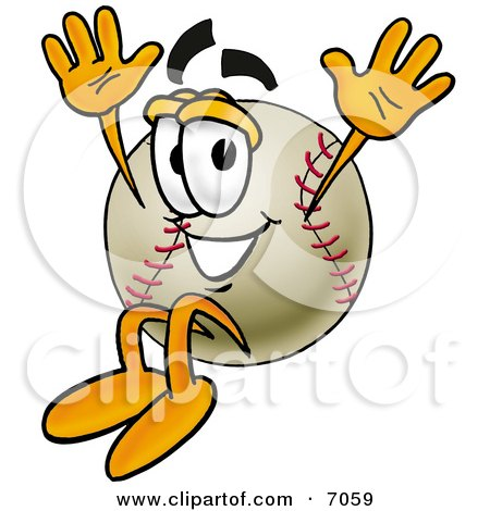 Clipart Picture Of A Baseball Mascot Cartoon Character Jumping