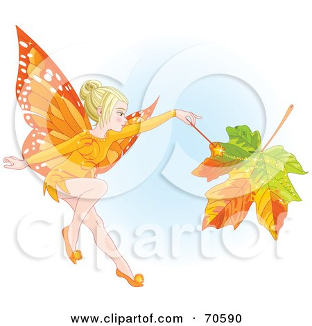 Royalty-Free (RF) Clipart Illustration of a Fall Fairy Changing A Leaf To Autumn Colors by Pushkin