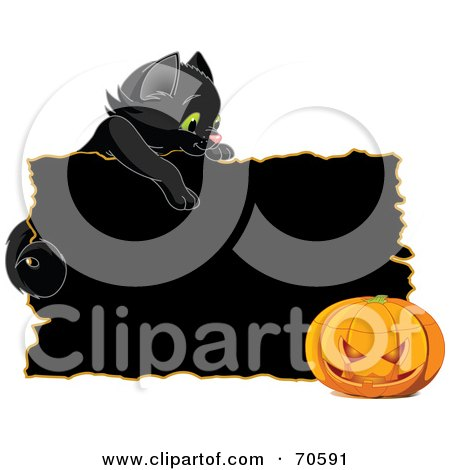 Royalty-Free (RF) Clipart Illustration of a Black Kitten Looking Over A Black Sign At A Halloween Pumpkin by Pushkin