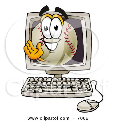 Clipart Picture of a Baseball Mascot Cartoon Character Waving From Inside a Computer Screen by Toons4Biz