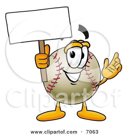 Clipart Picture of a Baseball Mascot Cartoon Character Holding a Blank Sign by Toons4Biz