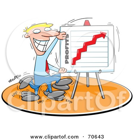 Royalty-Free (RF) Clipart Illustration of a Grinning Blond Businessman Displaying A Profit Board by jtoons