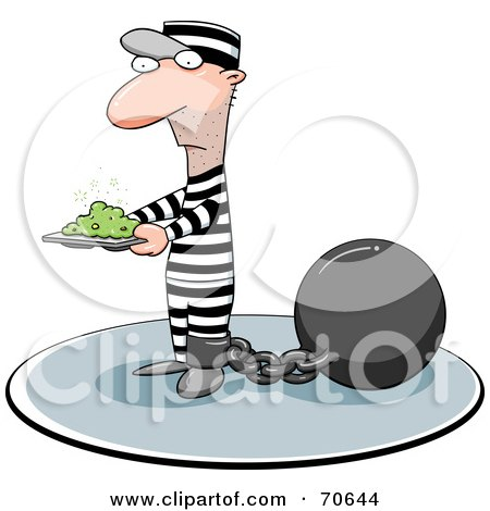 Royalty-Free (RF) Clipart Illustration of a Convict Carrying A Stinky Plate Of Food by jtoons