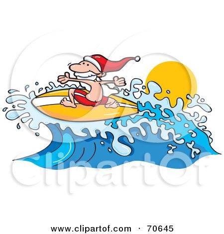 Surfer Santa Riding A Wave Posters, Art Prints