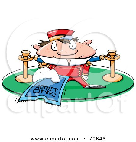 Royalty-Free (RF) Clipart Illustration of a Movie Theater Usher Holding A Ticket by jtoons