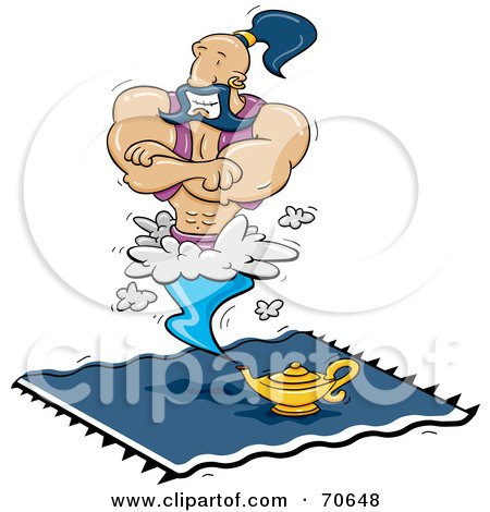 Royalty-Free (RF) Clipart Illustration of a Muscular Male Genie Hovering Above His Lamp On A Blue Carpet by jtoons