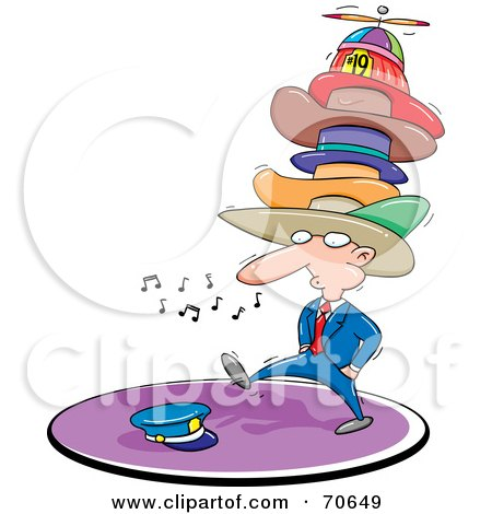 Royalty-Free (RF) Clipart Illustration of a Businessman Whistling, Walking And Wearing Too Many Hats by jtoons