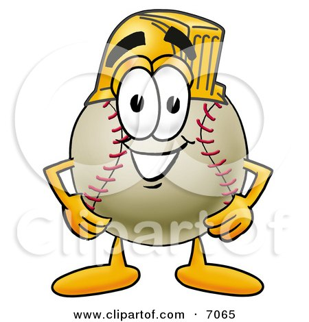 Clipart Picture of a Baseball Mascot Cartoon Character Wearing a Helmet by Toons4Biz