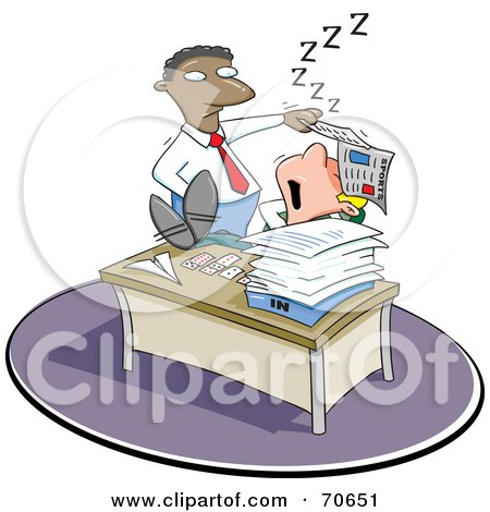 Royalty-Free (RF) Clipart Illustration of a Black Manager Man Lifting A Paper Off Of A Sleeping Employee's Face by jtoons