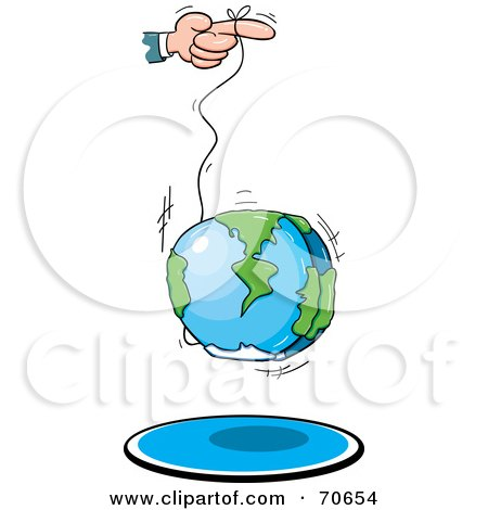 Royalty-Free (RF) Clipart Illustration of a Hand Using The World As A Yo Yo by jtoons