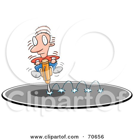 Royalty-Free (RF) Clipart Illustration of a Man Being Bounced Around On A Jackhammer by jtoons