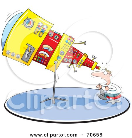 Royalty-Free (RF) Clipart Illustration of a Shocked Man Looking Through His Giant Telescope by jtoons