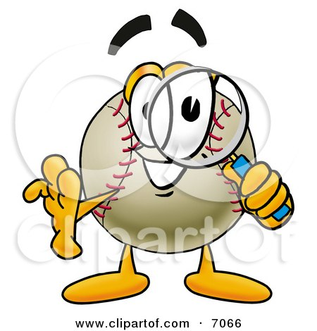 Clipart Picture Of A Baseball Mascot Cartoon Character Looking Through A Magnifying Glass
