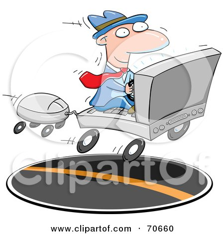 Royalty-Free (RF) Clipart Illustration of a Businessman Commuting On A Laptop Car by jtoons