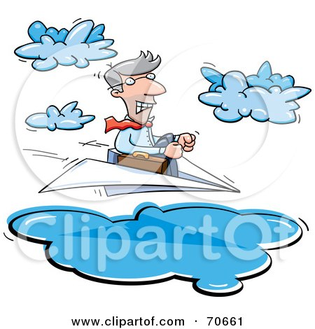 Royalty-Free (RF) Clipart Illustration of a Business Man Steering A Paper Plane Through Clouds by jtoons