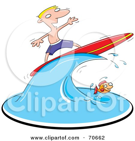 Royalty-Free (RF) Clipart Illustration of a Blond Surfer Guy On A Wave Over A Fish by jtoons