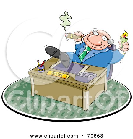 Royalty-Free (RF) Clipart Illustration of a Lazy Boss Smoking A Cigar And Relaxing With His Feet On His Desk by jtoons
