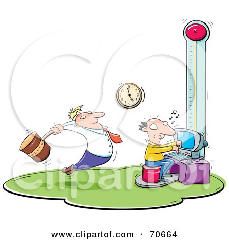 Royalty-Free (RF) Clipart Illustration of a Manager Swinging A Hammer Over A Stressed Employee On A Deadline by jtoons