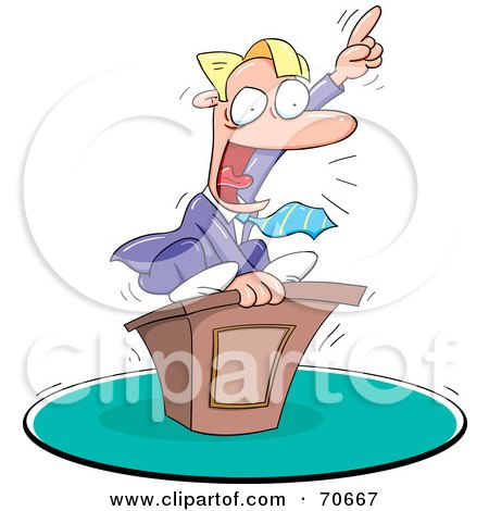 Royalty-Free (RF) Clipart Illustration of a Motivational Speaker On Top Of His Podium by jtoons