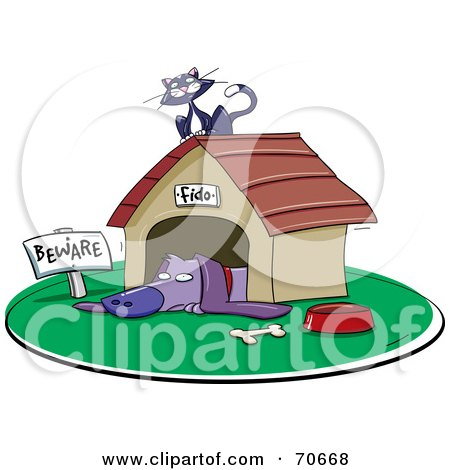 Royalty-Free (RF) Clipart Illustration of a Kitty Cat Resting On Top Of A Dog House by jtoons