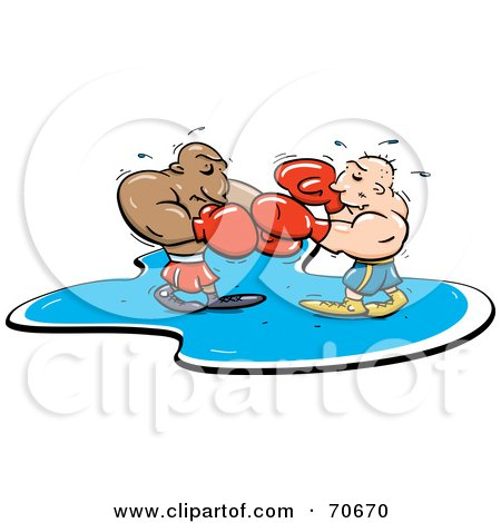 Royalty Free RF Clipart Illustration Of Two Sweaty Boxes Fighting