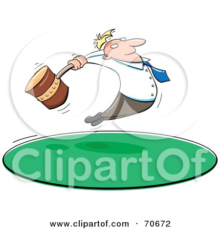 Royalty-Free (RF) Clipart Illustration of a Businessman Leaping And Swinging A Giant Hammer by jtoons