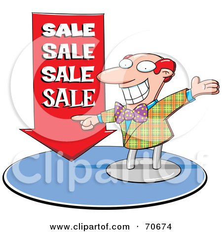 Energetic Red Haired Balding Salesman Pointing To A Red Arrow Posters, Art Prints