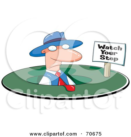 Royalty-Free (RF) Clipart Illustration of a Businessman Noticing The Small Watch Your Step Sign After Falling In A Hole by jtoons