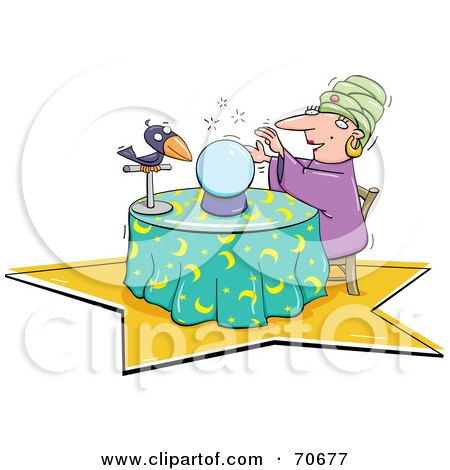 Royalty-Free (RF) Clipart Illustration of a Fortune Teller With Her Crystal Ball And Bird by jtoons