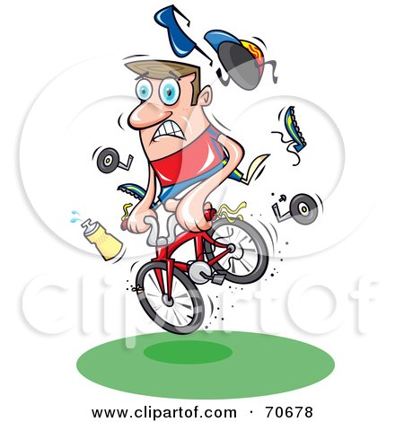 Royalty-Free (RF) Clipart Illustration of a Mountain Biker Losing Control Of His Bike And Belongings by jtoons