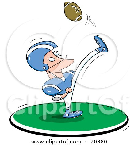 Royalty-Free (RF) Clipart Illustration of a Man In A Blue And White Uniform, Kicking A Football by jtoons