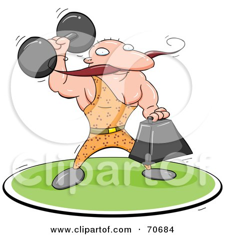 Royalty-Free (RF) Clipart Illustration of a Strong Man Holding Weights by jtoons