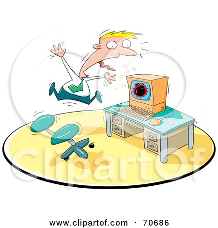 Royalty-Free (RF) Clipart Illustration of a Businessman Freaking Out About A Bomb On His Computer Screen by jtoons