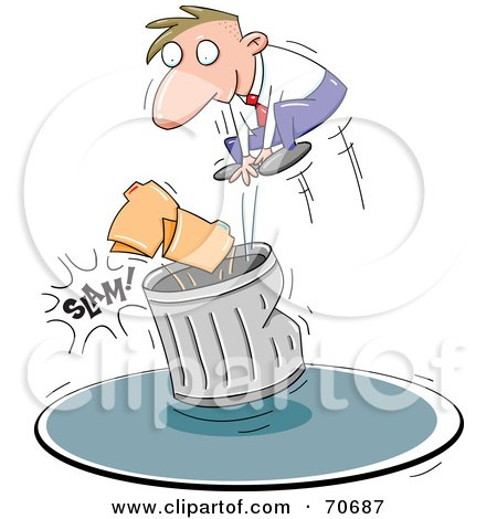 Royalty-Free (RF) Clipart Illustration of a Business Man Slamming Files Into A Trash Can by jtoons