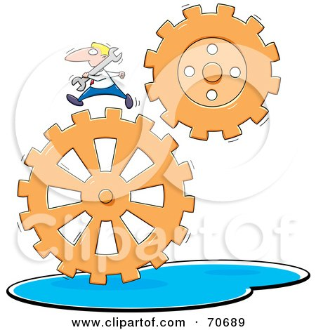 Royalty-Free (RF) Clipart Illustration of a Businessman Carrying A Wrench And Running On Gears by jtoons