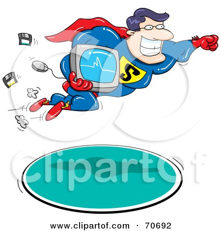 Royalty-Free (RF) Clipart Illustration of a Super Hero Man Flying With A Computer by jtoons