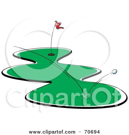 Royalty-Free (RF) Clipart Illustration of a Golf Ball Bouncing Off The Grass by jtoons