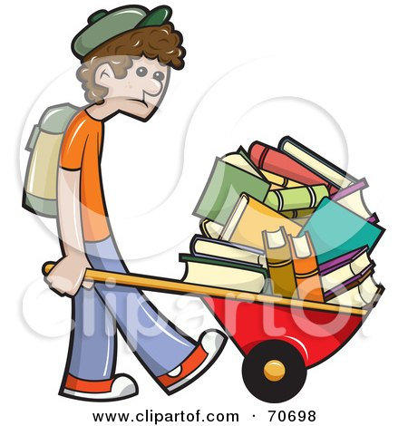 Royalty-Free (RF) Clipart Illustration of a Sad School Boy Pushing Tons Of Books In A Wheelbarrow by jtoons